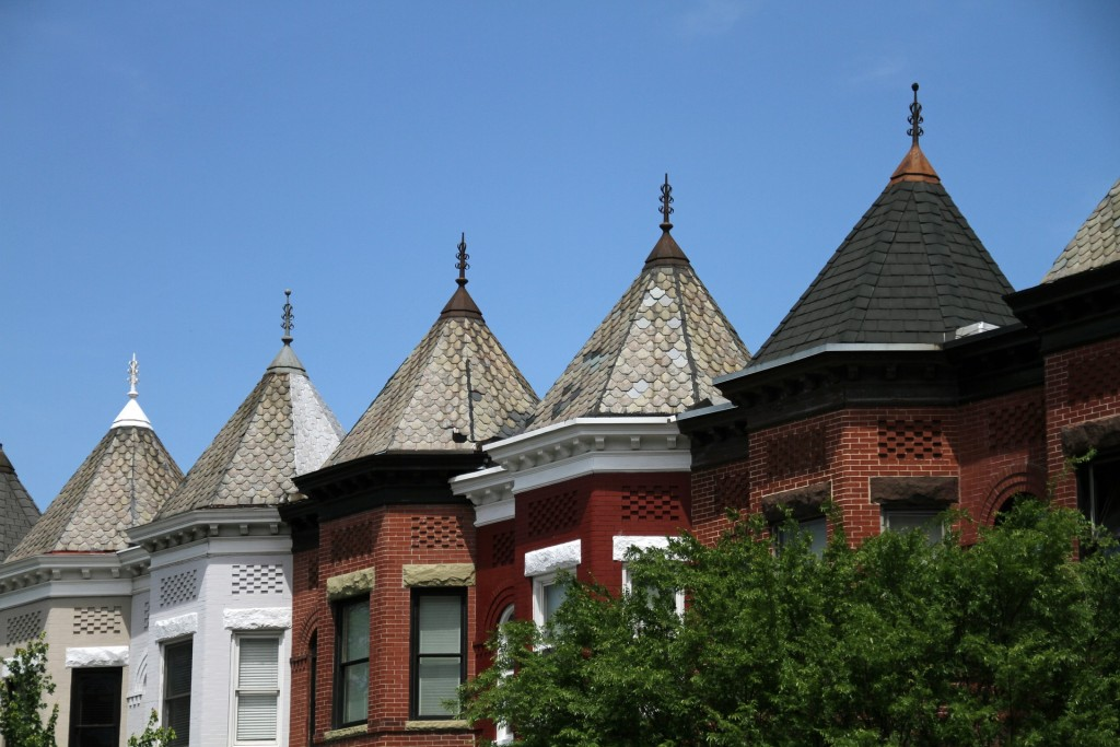 Historic row houses line the streets of DC's Columbia Heights.